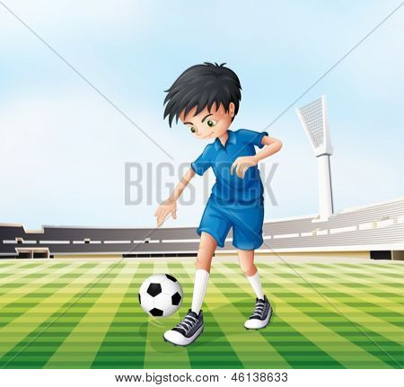 Illustration of a young gentleman playing soccer