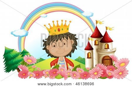 Illustration of a king in front of a castle on a white background