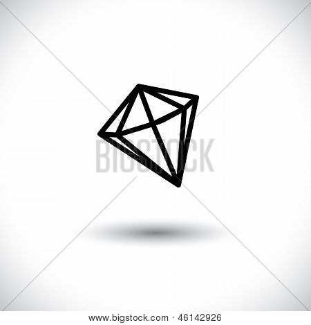 Black And White Outline Of A Diamond Stone- Vector Graphic Jewel