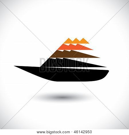 Colorful Sailboat Or Yatch Icon Moving Fast- Vector Graphic