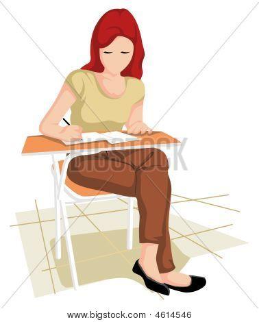 Collegian Girl In Writing