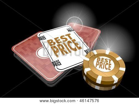 3d render of a golden best price sign  on poker cards