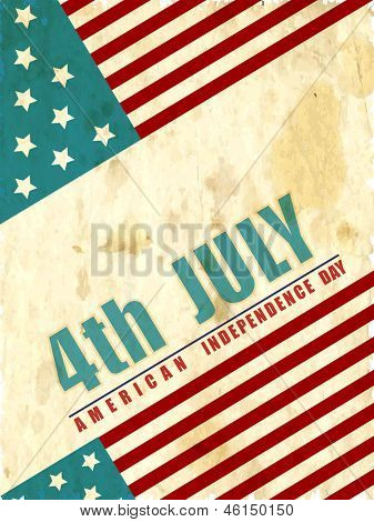 4th July, American Independence Day vintage background. poster