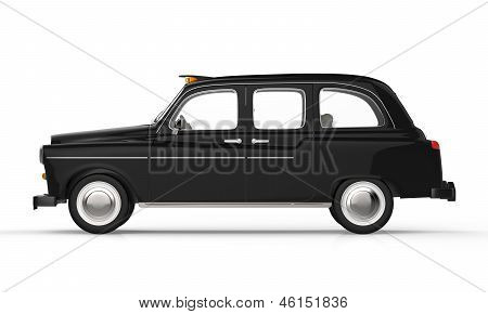 Black London Taxi isolated on white background. 3D Render poster