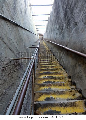 Old Concrete Staircase Up To The Top Of Diamond Head Crater