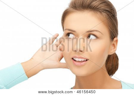 bright picture of happy woman listening gossip