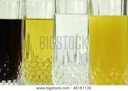 close  up of group of beverages on the white background