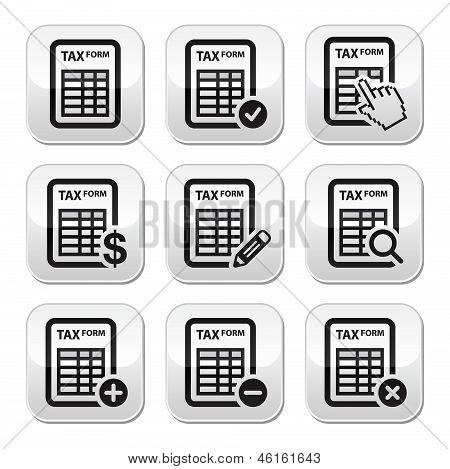 Tax form, taxation, finance vector buttons set