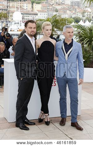 CANNES - MAY 15: Leonardo DiCaprio, Carey Mulligan and Baz Luhrmann at a photocall for 'The Great Gatsby' at The 66th Annual Cannes Film Festival at Palais des Festivals on May 15, 2013 in Cannes, France
