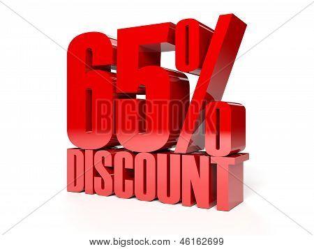 65 percent discount. Red shiny text. Concept 3D illustration.