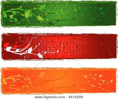 Three Banner With Swirl Design