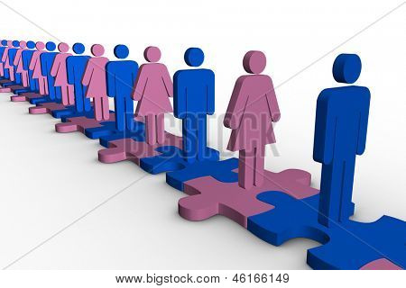 Line of blue and pink human forms standing over meshed jigsaw pieces on white background poster
