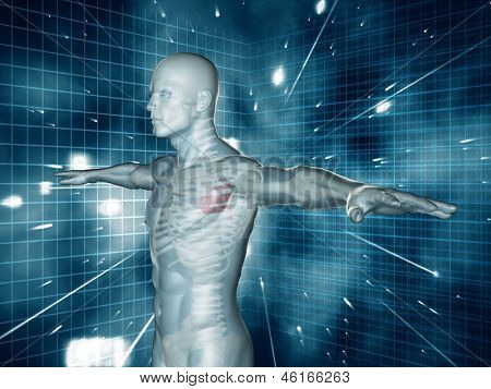 Medical human representation standing with arms raised on blue and black futuristic background