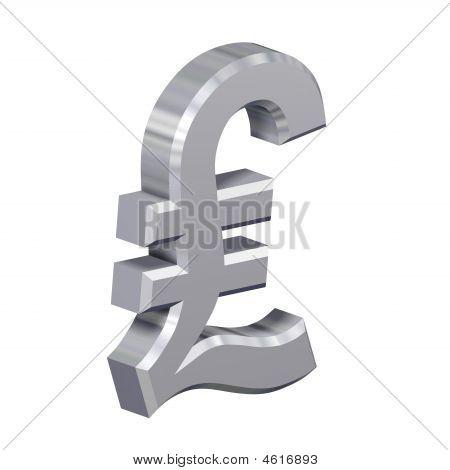 Chrom-Pfund-Zeichen, isoliert auf weiss.