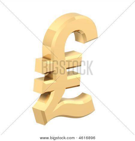 Gold-Pfund-Zeichen, isoliert auf weiss.
