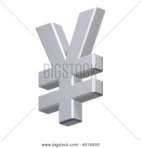 Chrom Yen-Zeichen, isoliert auf weiss.
