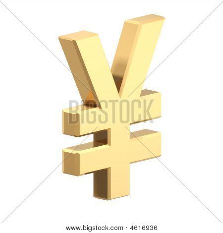Gold-Yen-Zeichen isoliert auf weiss.