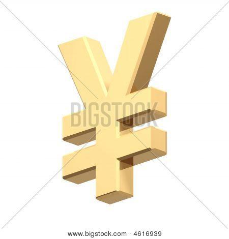 Gold-Yen-Zeichen, isoliert auf weiss.