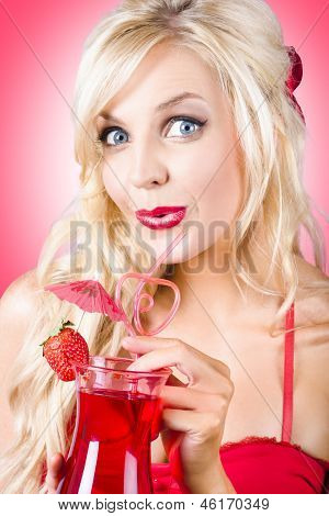 Surprised Young Woman Drinking Nightclub Cocktail