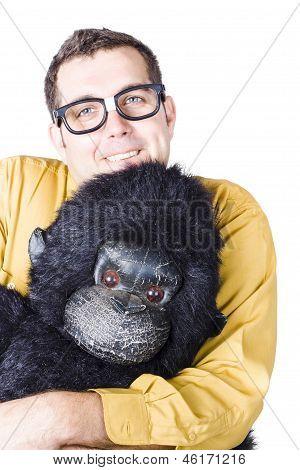 Man Holding Gorilla Costume
