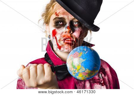 Zombie Holding Knife In Globe
