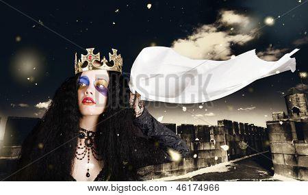 Royal Damsel In Distress Waving White Castle Flag