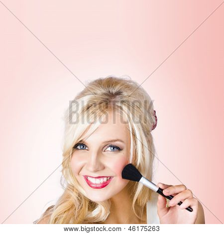 Fresh Faced Makeup Girl With Cosmetic Brush