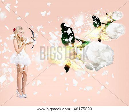 Beautiful Cupid Woman Firing Romance Arrows