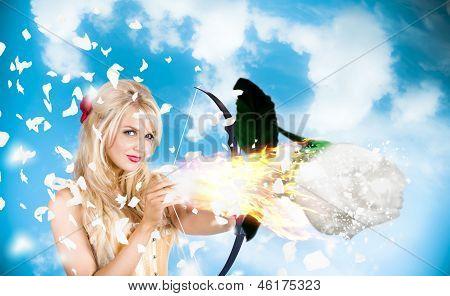 Romantic Goddess Of Love Shooting Magic Rose