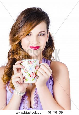 Woman With Cup Of Coffee