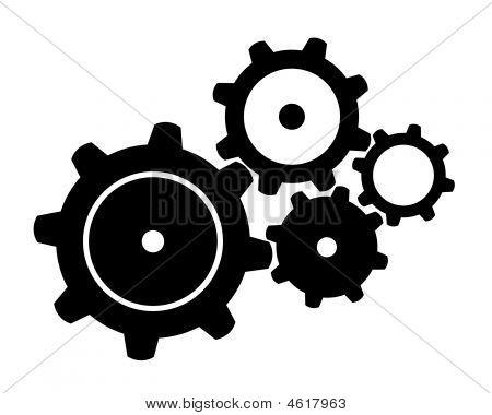 Four Black Gears