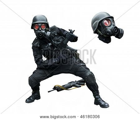 Special Force Soldier Posing Funny In Isolation Background .
