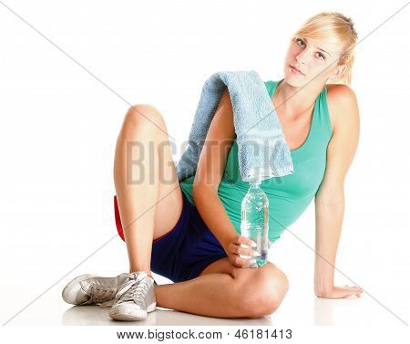 Beautiful Girl Drinking Water Blue Bottle Isolated