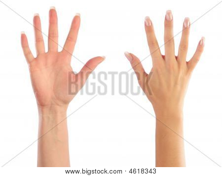 Female Hands Counting Number Five