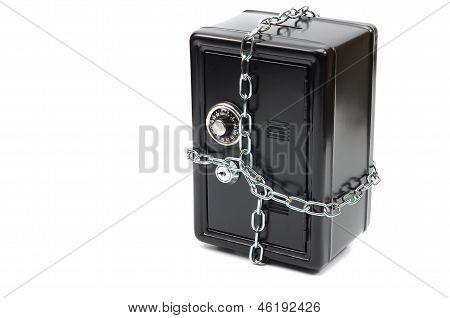 Money steel safe in chains