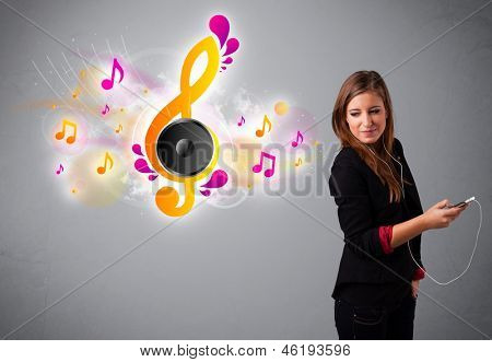 pretty girl singing and listening to music with musical notes getting out of her mouth