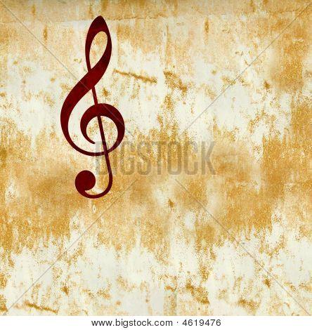 G (treble) Clef Music Notation Symbol On Grunge Background