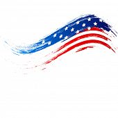 4th of July, American Independence Day grungy wave in national flag colors on white background. poster