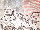 Vintage 4th of July, American Independence Day background with faces of citizens on waving flag background. poster
