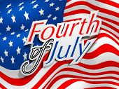 4th of July, American Independence Day concept on waving flag background. poster