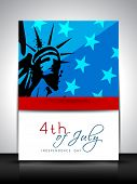 4th of July, American Independence Day flyer or brochure with image of statue of liberty. poster