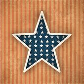 4th July, American Independence Day vintage background with star. poster