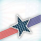 4th July, American Independence Day background with star in national flag colors on grey background. poster
