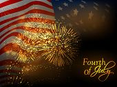 4th July, American Independence Day celebration background with waving national flag. poster