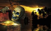 Pirate skeleton in the caribbeans poster