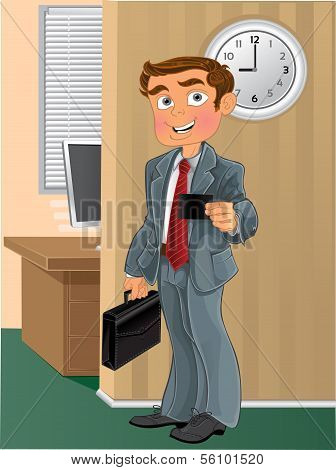 Businessman with business card in office