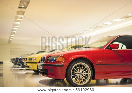 MUNICH, GERMANY - JUNE 17, 2012: Row Of Epochal 3Rd Series Bmw's Line-up Shown On Stand In Bmw Museu