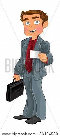 Businessman in grey suit with white business card