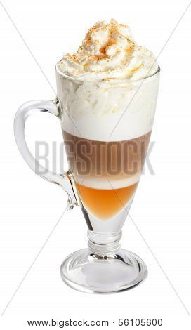 Latte, coffee isolated on white.