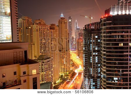 The View On Dubai City From Skyscraper In Night Illumination, Dubai, Uae